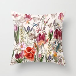 Bright spring field. Romantic pattern Throw Pillow