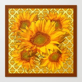 Decorative Yellow Sunflowers Brown Patterns Canvas Print