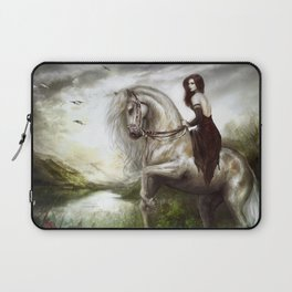 Morning welcome - Royal redead girl riding a white horse Laptop Sleeve
