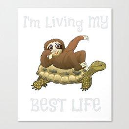 I'm Living My Best Life Sloth & Turtle Canvas Print
