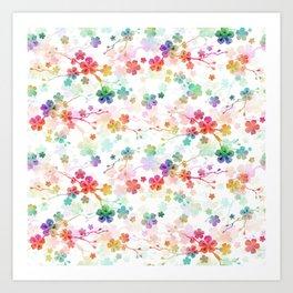 Rainbow Bright Pastel Watercolor Flowers and Vines Art Print