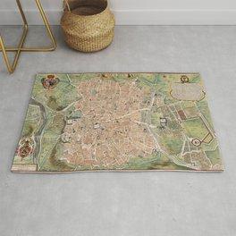 Vintage Map of Madrid Spain (1705) Rug