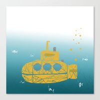 yellow submarine Canvas Prints featuring YELLOW SUBMARINE by ARCHIGRAF