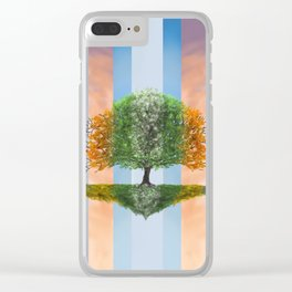 Digital painting of the seasons of the year in a tree Clear iPhone Case