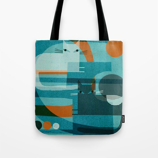 CATS ON BLUE WITH ORANGE Tote Bag