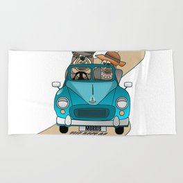 The  Best of British - English Bulldogs in a Morris Minor Beach Towel