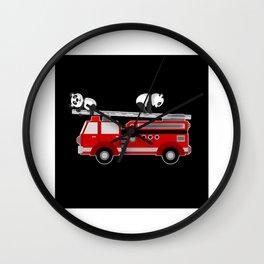Panda Bear With Fire Engine Car Design Motif Wall Clock
