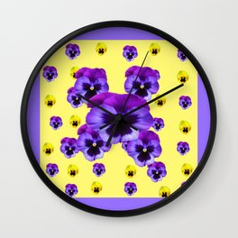 LILAC FRAMED YELLOW & PURPLE PANSY GARDEN FLOWERS Wall Clock
