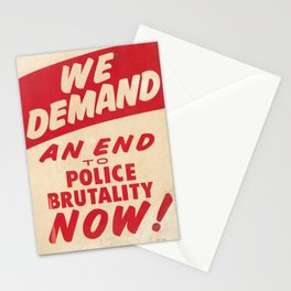 We demand an end to police brutality now! 1968 Civil Rights Protest Poster Stationery Cards