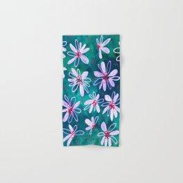 Daisy Flowers | Whimsical Watercolor Daisies on Cyan BlueTeal Hand & Bath Towel