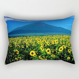 Sunflower fields at Mount Fuji, Japan  - Jéanpaul Ferro Rectangular Pillow