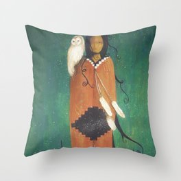 Wise Woman // Native American Woman Shaman Shamanism Owl Spirit Animal Feather Tree Turquoise Indian Throw Pillow