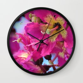 Beautiful Pink Floss Silk Tree Flowers by Reay of Light Photography Wall Clock