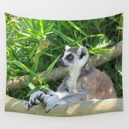 Cute and relaxed Ring-tailed lemur (lemur catta) Wall Tapestry