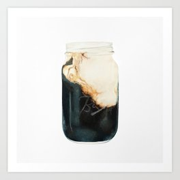 Iced Coffee in Mason Jar Art Print