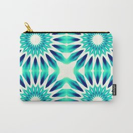 Pinwheel Flowers Turquoise Teal Watercolor Carry-All Pouch