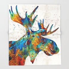 Colorful Moose Art - Confetti - By Sharon Cummings Throw Blanket
