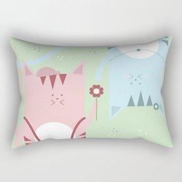 Traveling Tabbies: Flower Power Rectangular Pillow