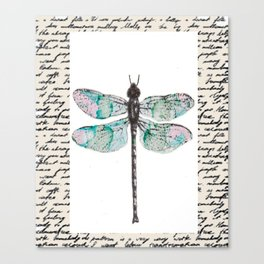 Dragonfly with Handwritten Background Canvas Print