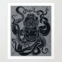 Mark V Octopus - grey Art Print