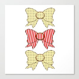 Candy Cane and Cream Bows  Canvas Print