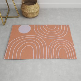 Minimalist Curved Lines and Shapes in Rust and Lilac Rug
