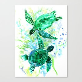 Sea Turtles Underwater Scene Turquoise Blue design, bright blue green design Canvas Print