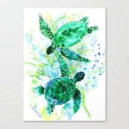 Sea Turtles Underwater Scene Turquoise Blue design, bright blue green design Canvas Print