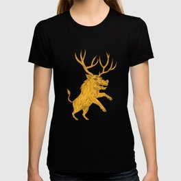 Wild Boar Razorback With Antlers Prancing Drawing T-shirt
