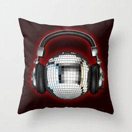 Headphone disco ball Throw Pillow