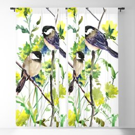 chickadees and Spring Blossom Blackout Curtain