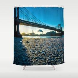 Ice Floe under the Manhattan Bridge Shower Curtain