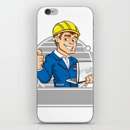 cartoon engineer with notebook iPhone Skin