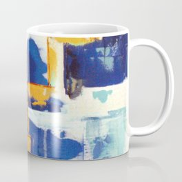 Stairway to Heaven: Abstract Acrylic Painting with blue and white and orange colors Coffee Mug
