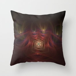 Red spiral fractal picture on the dark background Throw Pillow