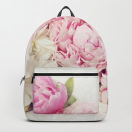Peonies on white Backpack