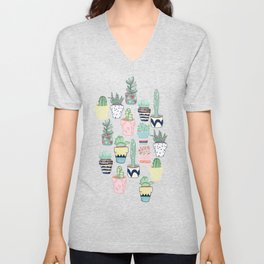 Cute Cacti in Pots Unisex V-Neck