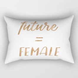 The Future is Female Copper Bronze Gold on Marble Rectangular Pillow