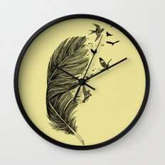 Feather Birds BW Wall Clock