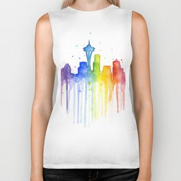 Seattle Skyline Rainbow Watercolor Biker Tank