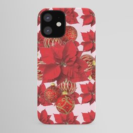 RED POINSETTIA FLOWERS  ORNAMENTS CHRISTMAS ART iPhone Case