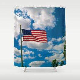 American Flag in Big Blue sky Shower Curtain