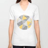 yellow pattern V-neck T-shirts featuring Pattern, grey - yellow by Lindella