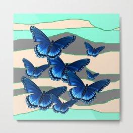 INDIGO BLUE BUTTERFLIES TURQUOISE SKIES Metal Print