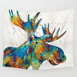 Colorful Moose Art - Confetti - By Sharon Cummings Wall Tapestry