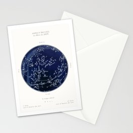 French June Star Map in Deep Navy & Black, Astronomy, Constellation, Celestial Stationery Cards