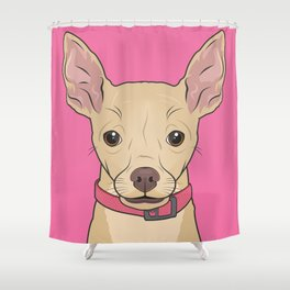 Chihuahua Art Poster Icon Series by Artist A.Ramos.Designed in Bold Colors Shower Curtain