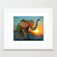 shapes Framed Art Prints featuring Elephant's Dream by Waelad Akadan
