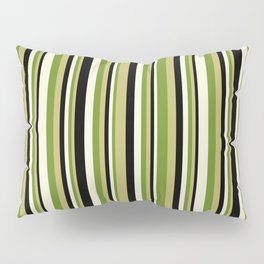 Dark Khaki, Green, Beige, and Black Colored Lined Pattern Pillow Sham
