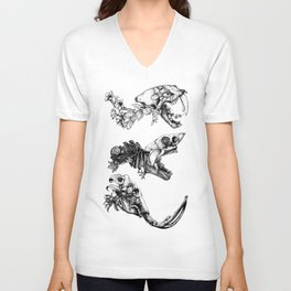 Prehistoric Bloom  Unisex V-Neck